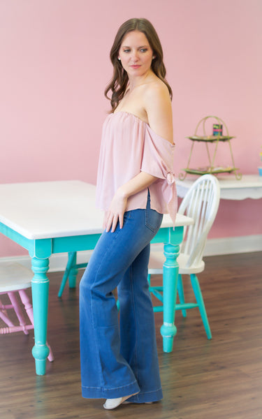Light Mauve Off The Shoulder Top - Endless Knot Boutique