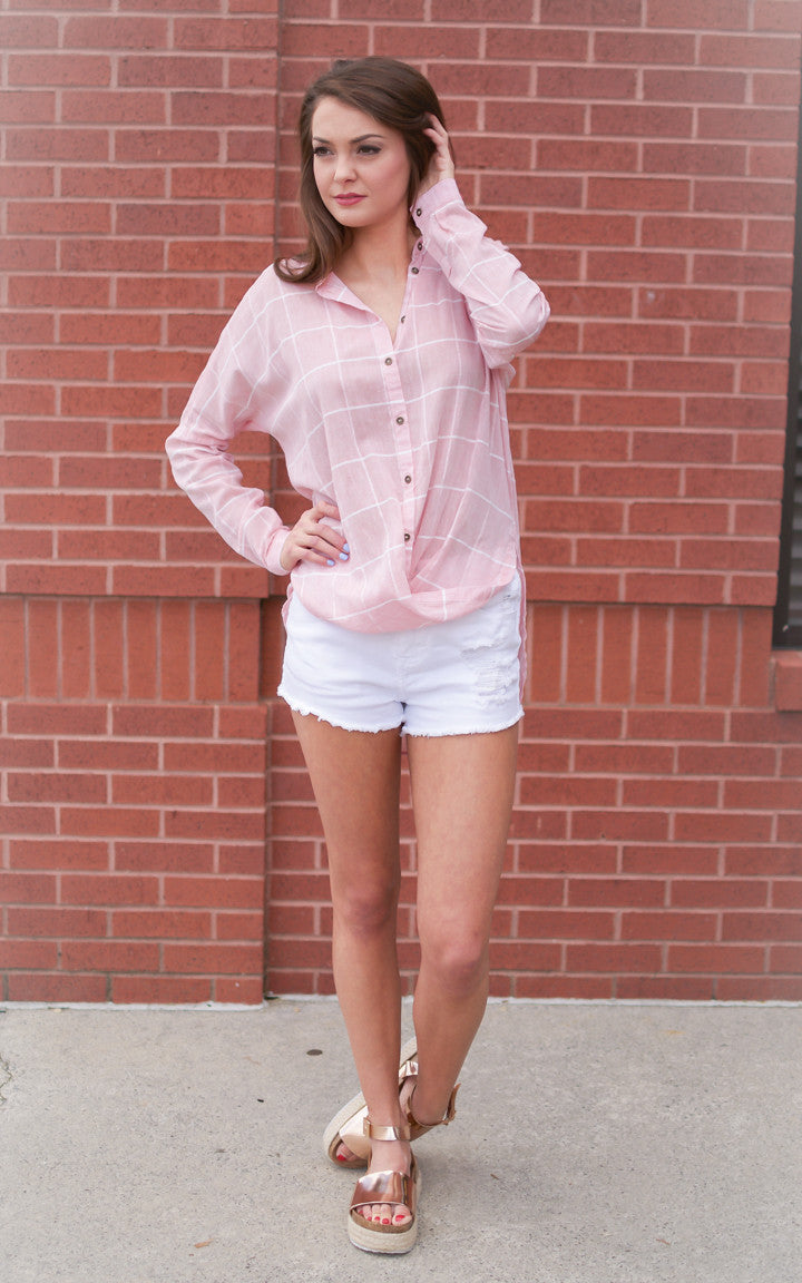 Plaid Promise Pink Button Down Top - Dawn and Rae Boutique