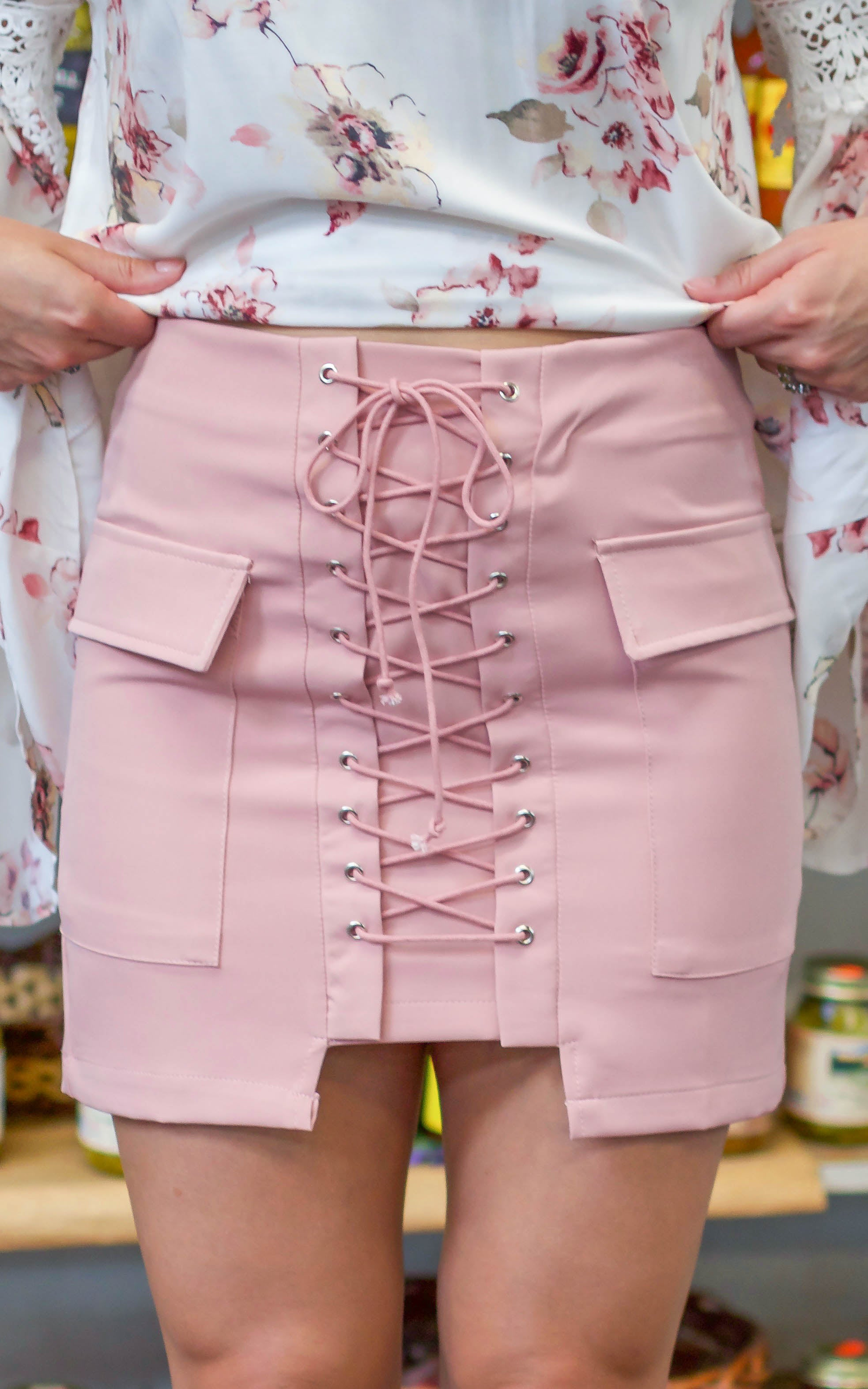 Dusty Pink Lace Up Skirt - Dawn and Rae Boutique