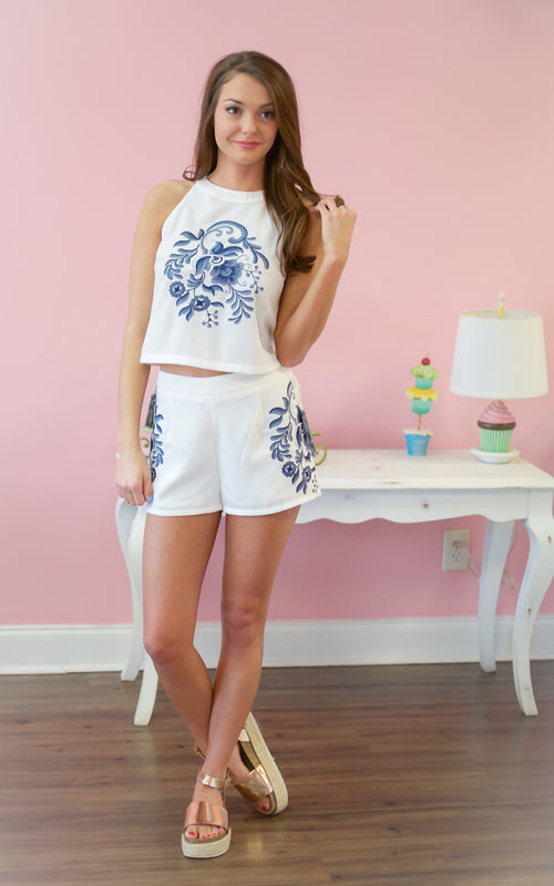 Dynasty Embroidered Tassel Short Set - Dawn and Rae Boutique
