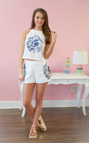 Bailey Blue Lace Sleeve Romper