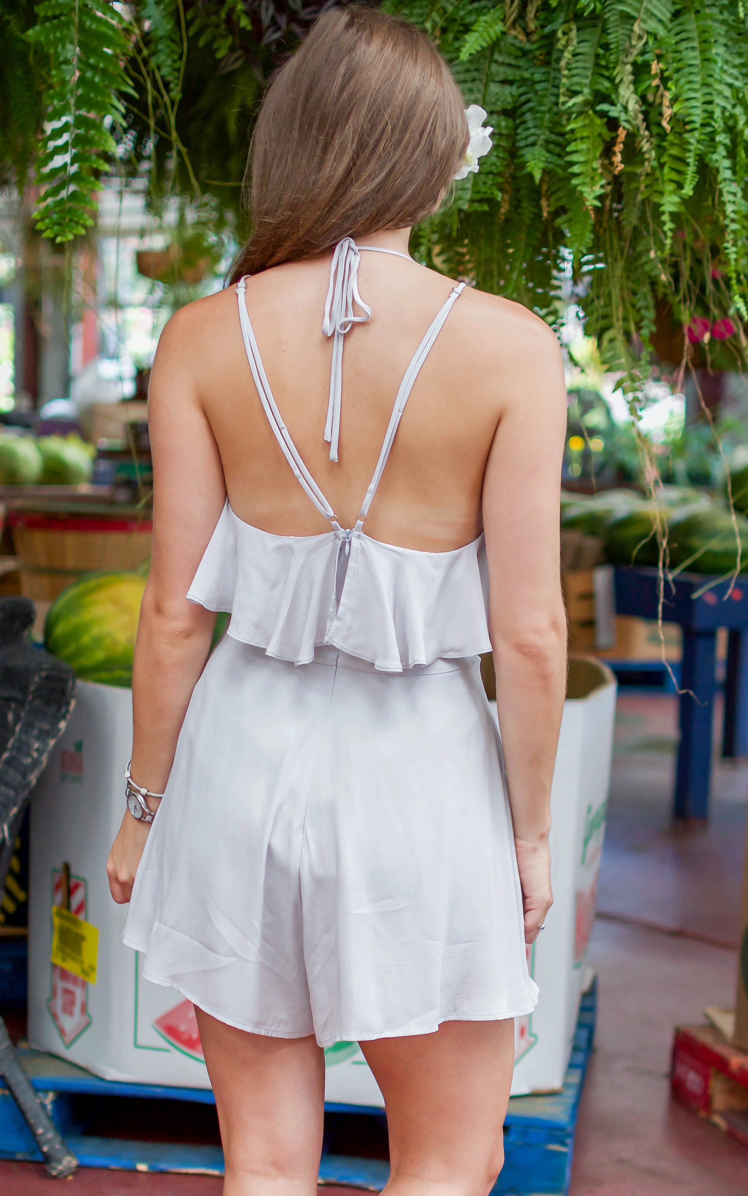 Silver Ruffle Wrap Romper - Dawn and Rae Boutique