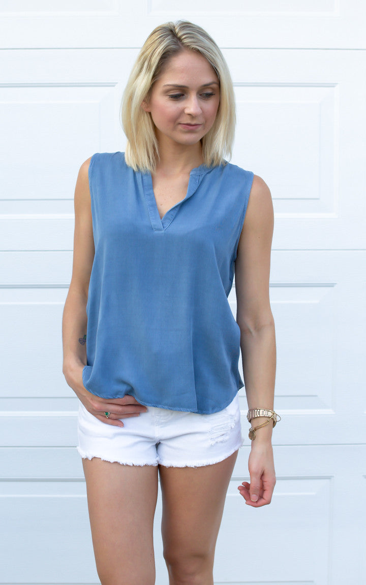 Denim Washed Tank Top - Dawn and Rae Boutique