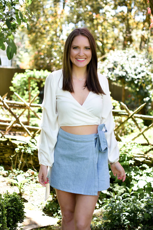 Chambray Wrap Mini Skirt - Dawn and Rae Boutique