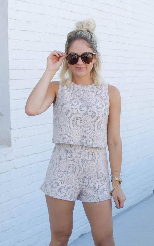 Blush Lace Two Piece Short Set - Dawn and Rae Boutique