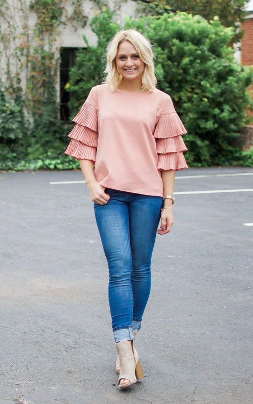 Peach Ruffle Tier Sleeve Blouse - Dawn and Rae Boutique