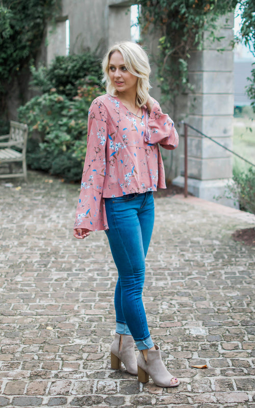 Mauve Wildflower Bell Sleeve Top - Dawn and Rae Boutique
