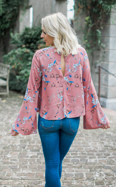 Mauve Wildflower Bell Sleeve Top