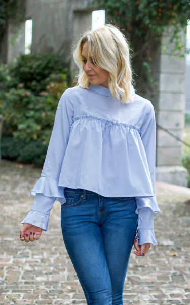 Mock Collar Ruffle Tier Blouse