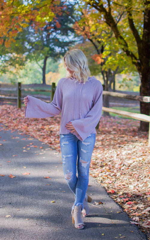 Violet Rib Hooded Pullover Sweater - Dawn and Rae Boutique