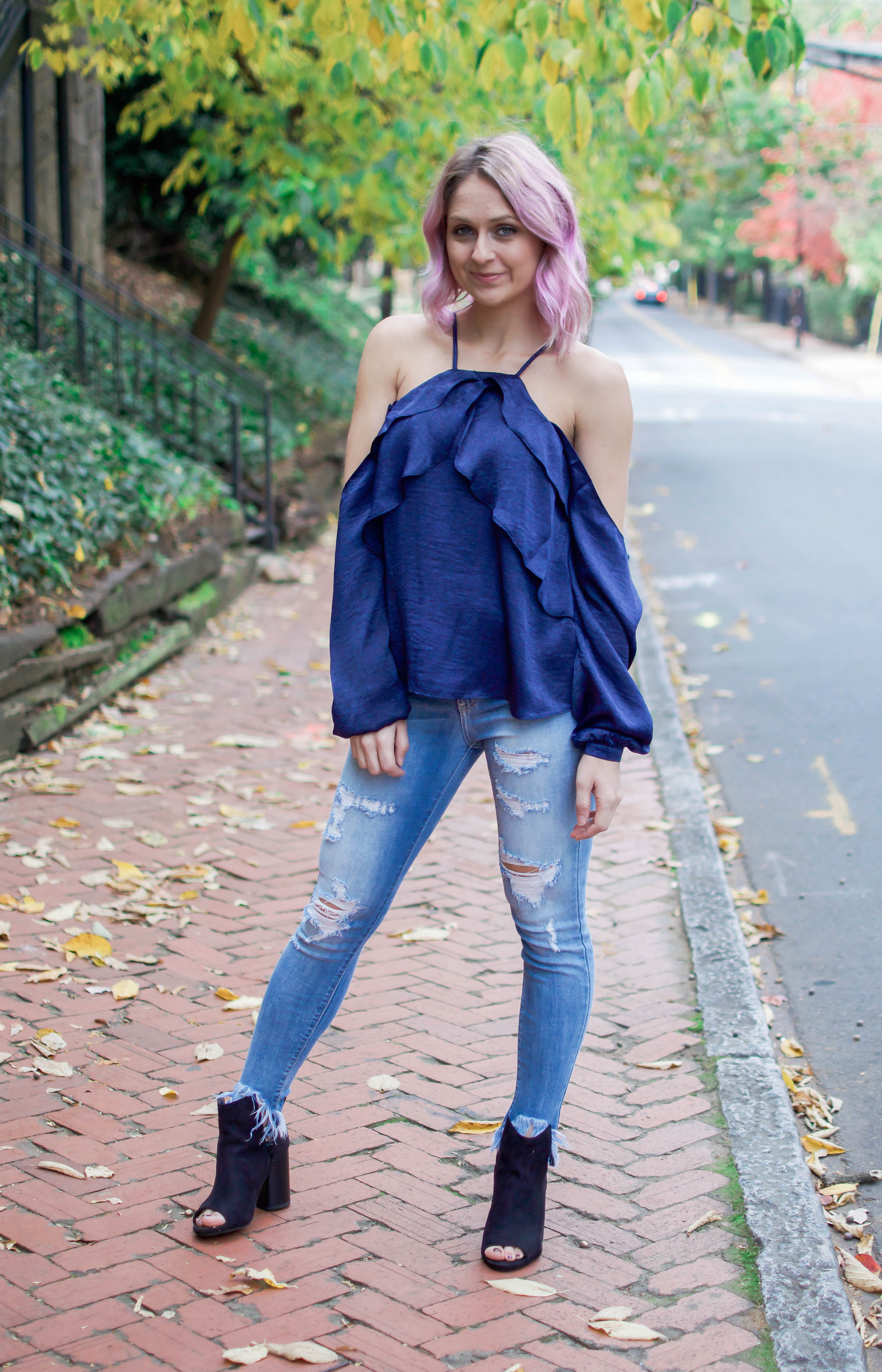 Navy Cold Shoulder Blouse - Dawn and Rae Boutique