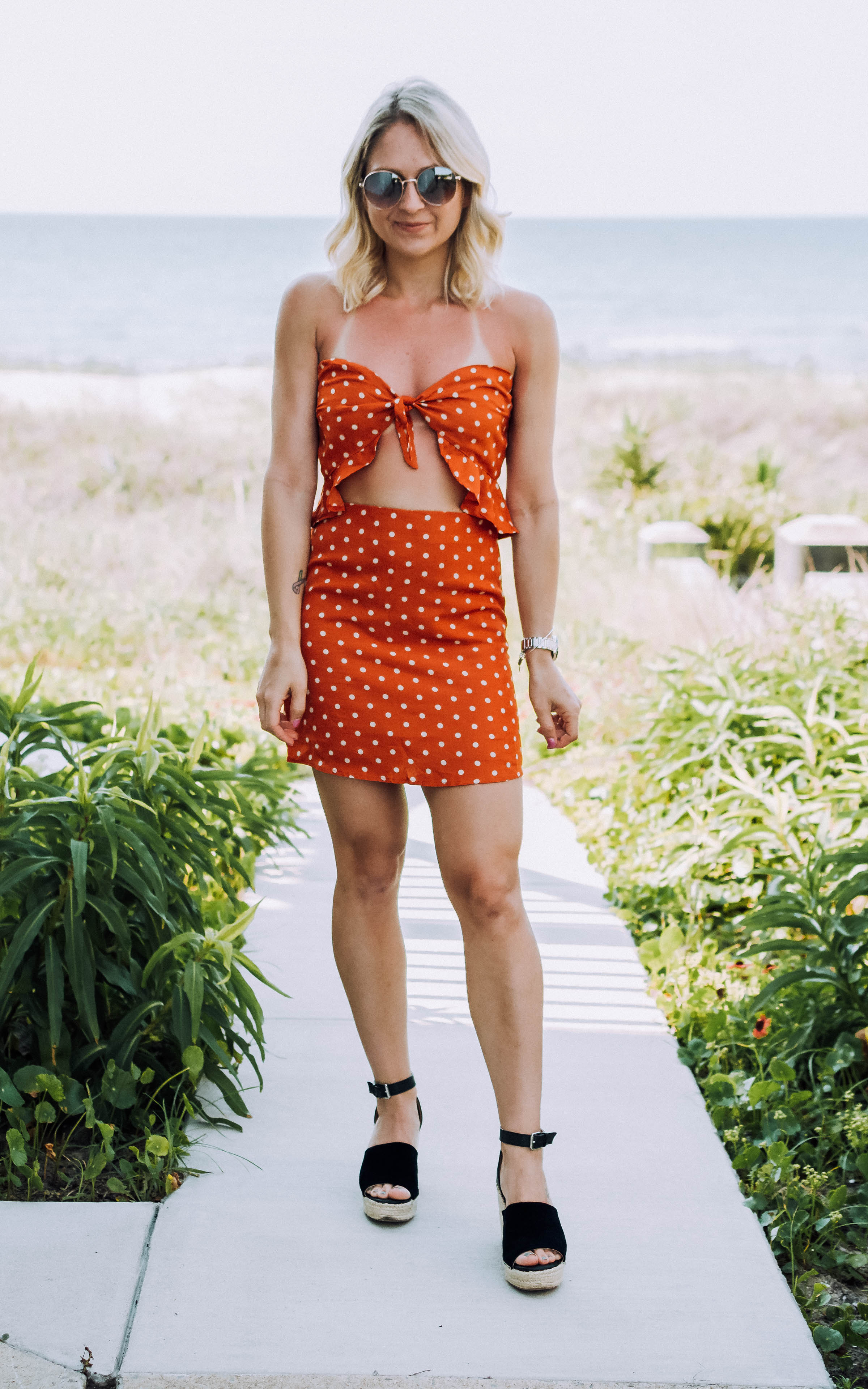 orange polka dot two piece skirt set