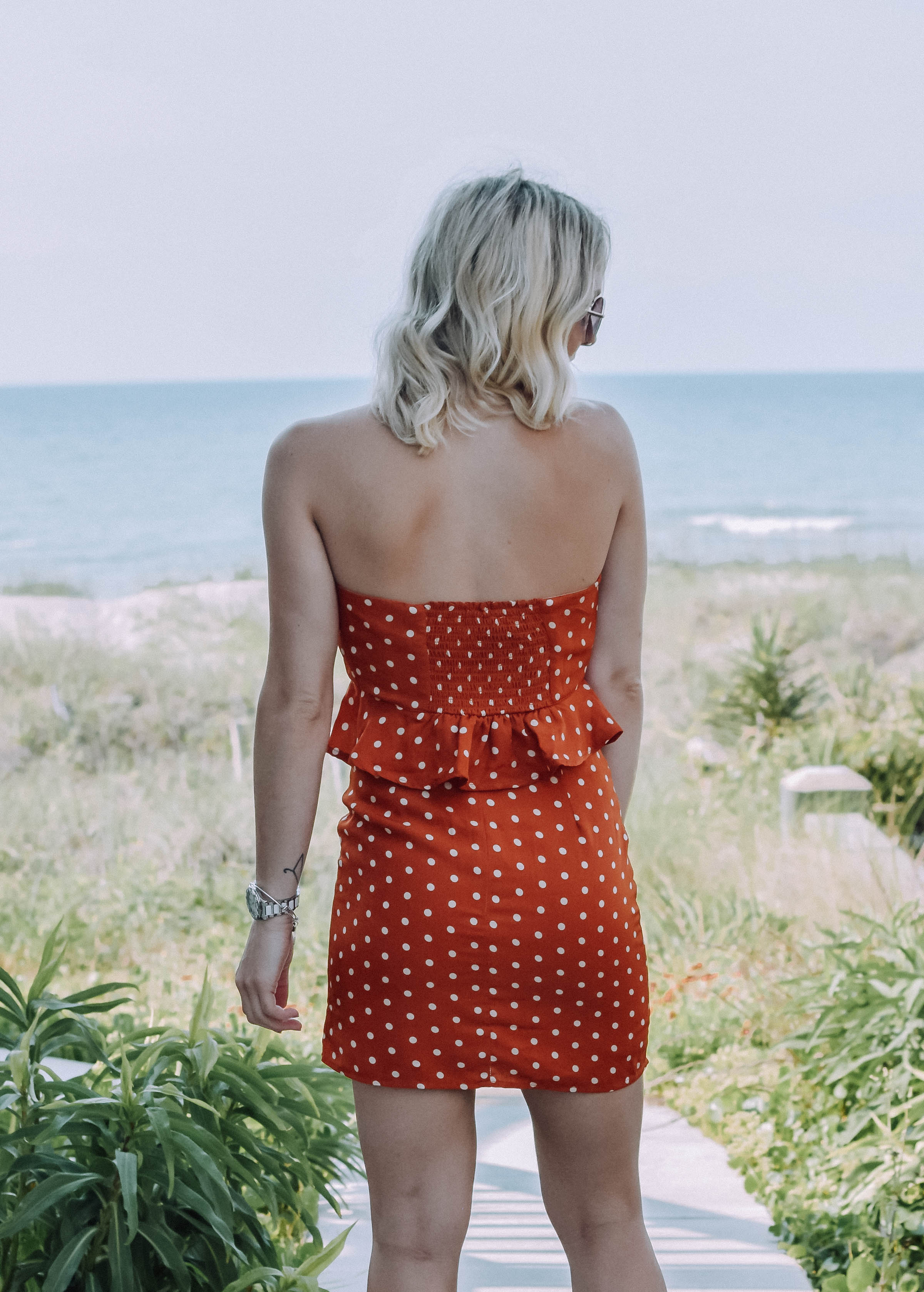 Rust Polka Two Piece Skirt Set