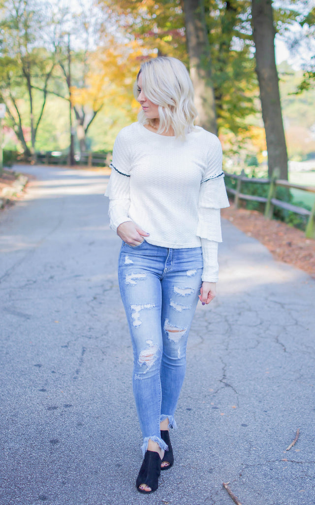 White Twisted Ruffle Sweater Top