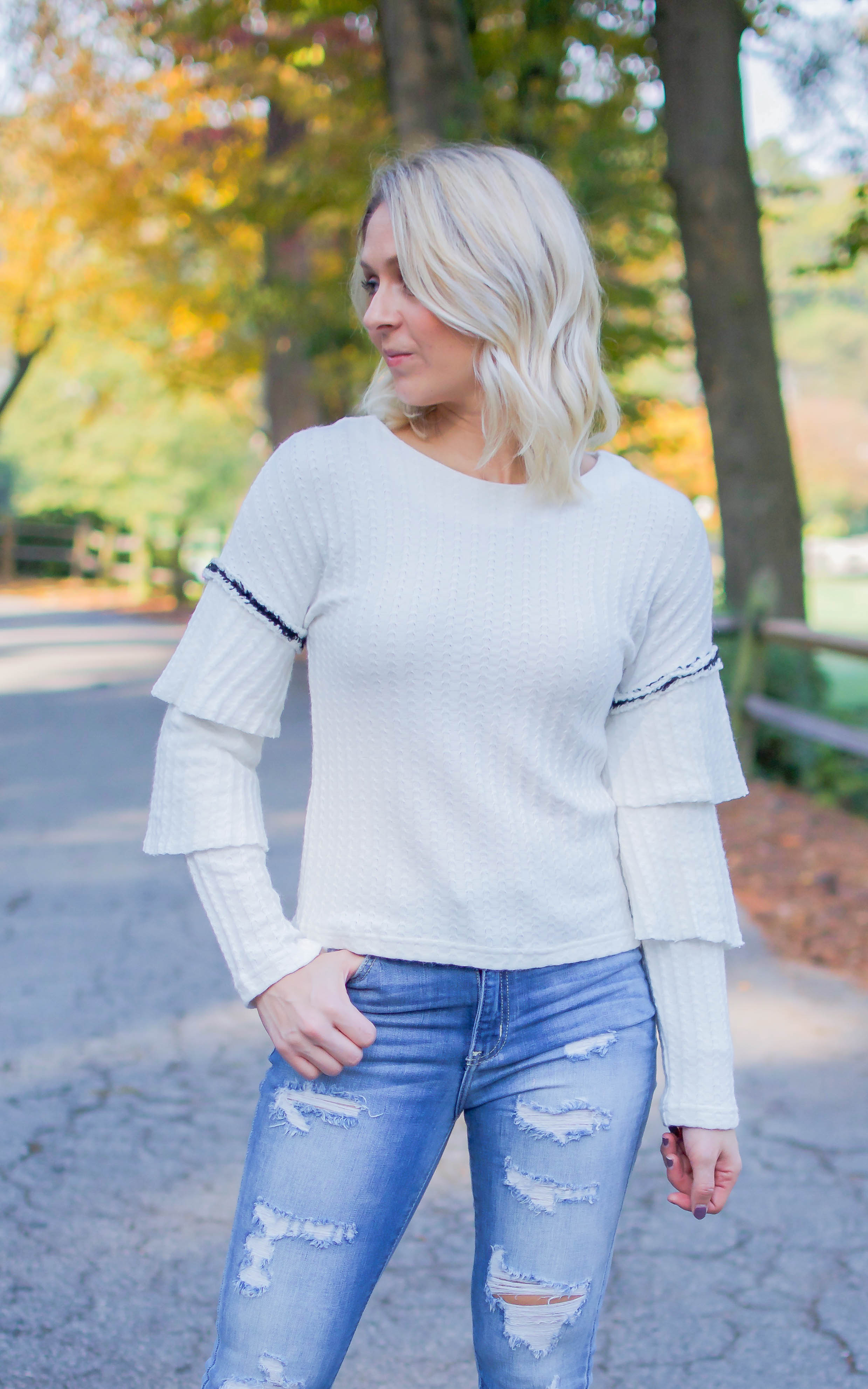 White Twisted Ruffle Sweater Top - Dawn and Rae Boutique