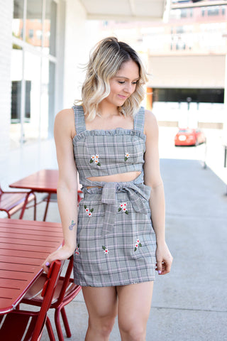 Plaid Front Waist Tie Top