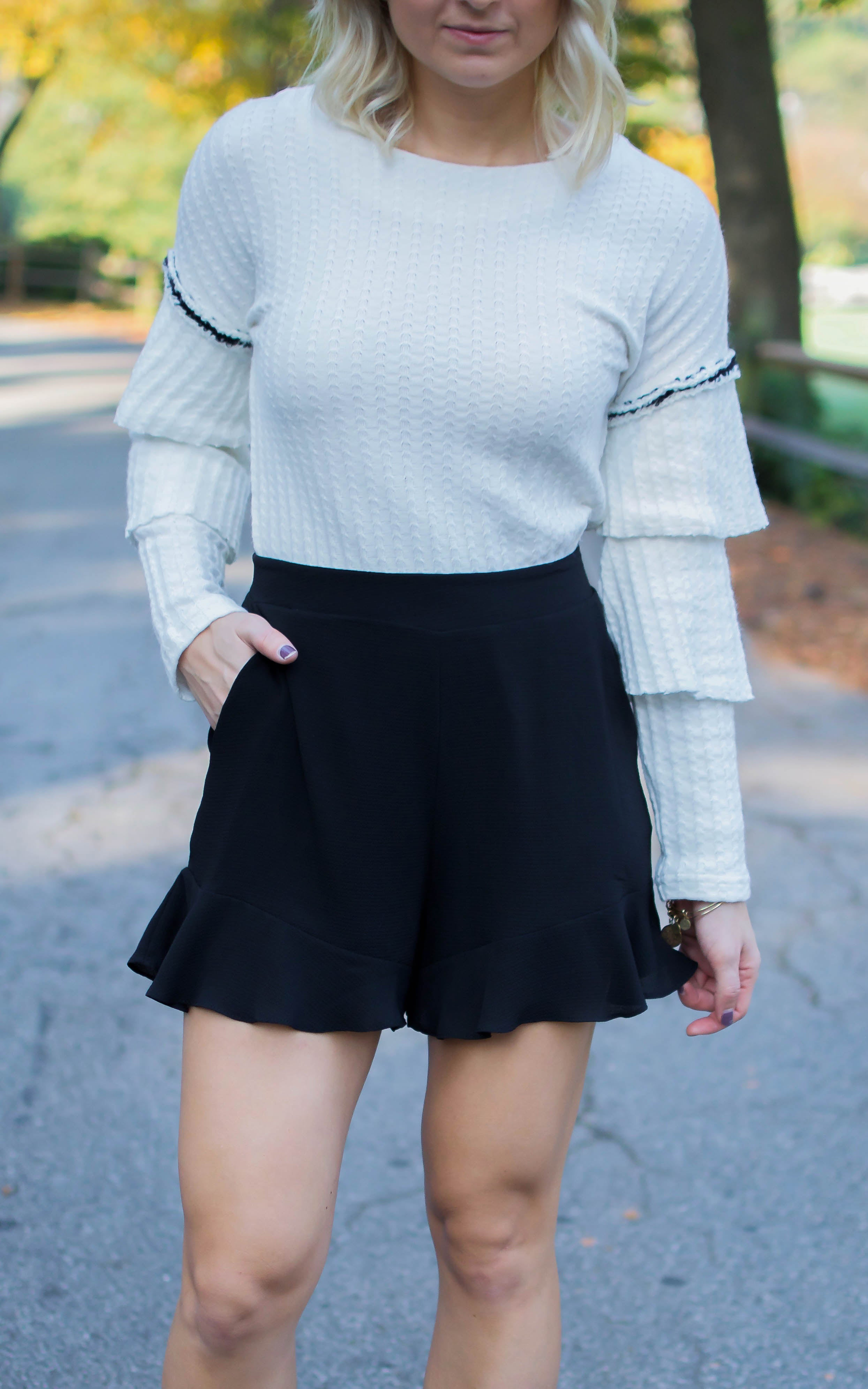 Black Ruffle Bottom Shorts - Dawn and Rae Boutique