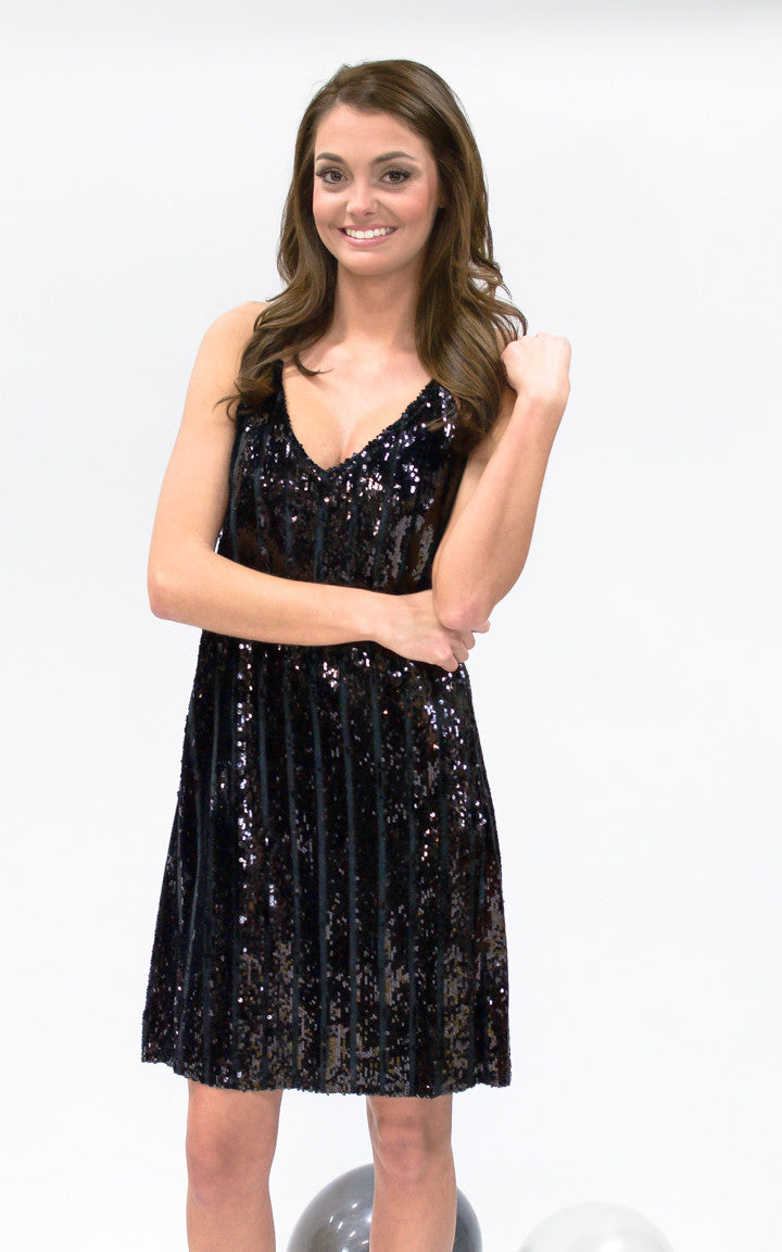 Black Sequin Mini Dress - Dawn and Rae Boutique