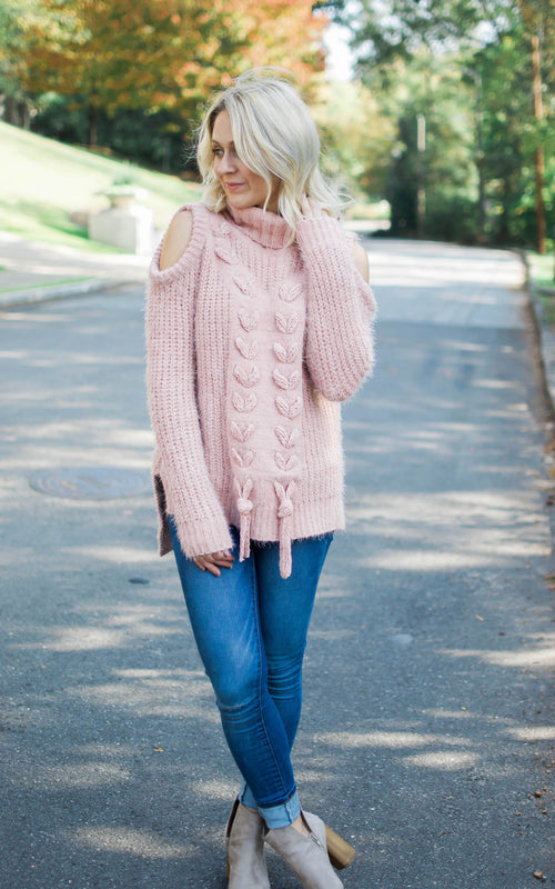 Rose Cold Shoulder Sweater - Dawn and Rae Boutique