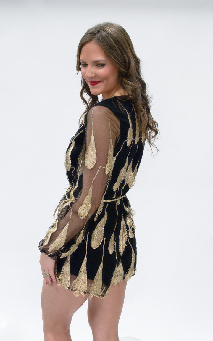 Gold Leaf Printed Romper - Dawn and Rae Boutique