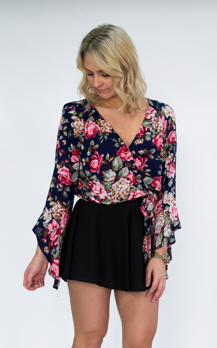 That's A Wrap Floral Top - Dawn and Rae Boutique