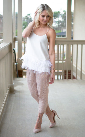 Pearly Feathered Tank - Endless Knot Boutique