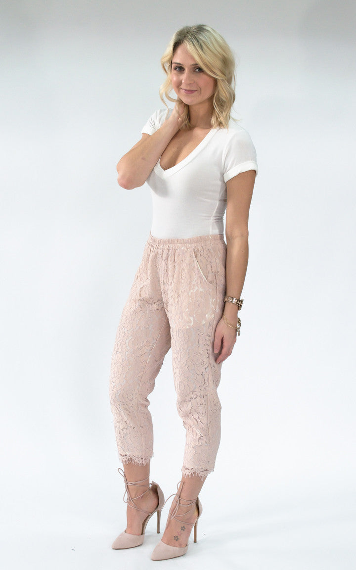Capri Pink Lace Pants - Dawn and Rae Boutique