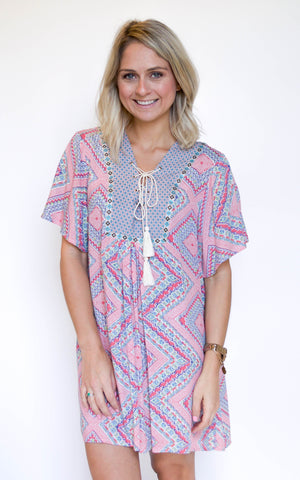 Lead The Way Pink Print Dress - Endless Knot Boutique