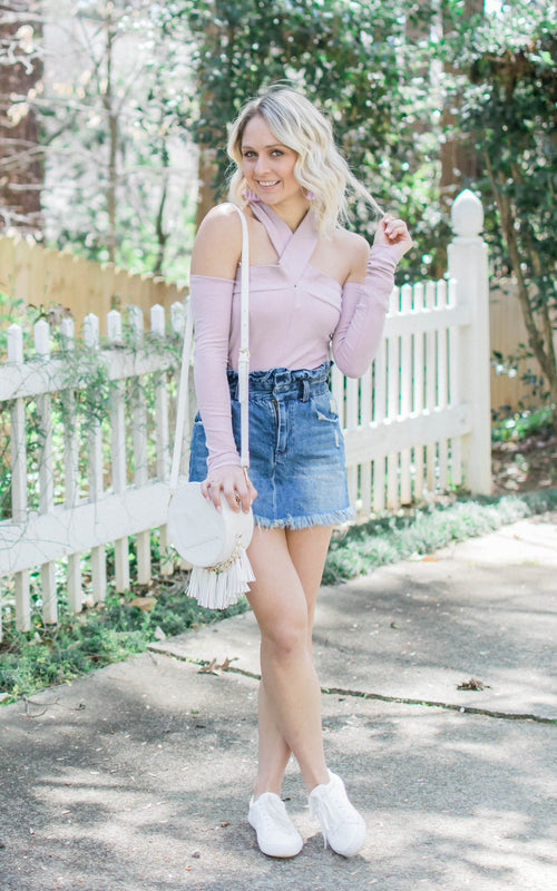 Lavender Cold Shoulder Bodysuit - Dawn and Rae Boutique