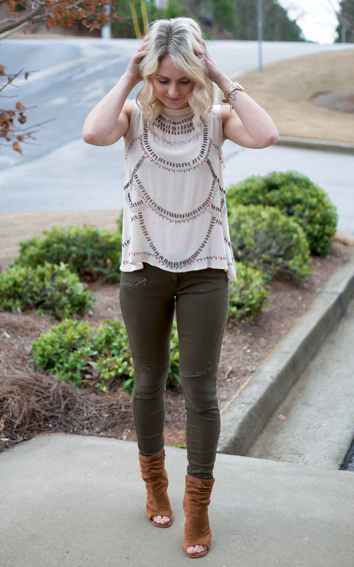 Cream Beaded Open Back Top - Dawn and Rae Boutique