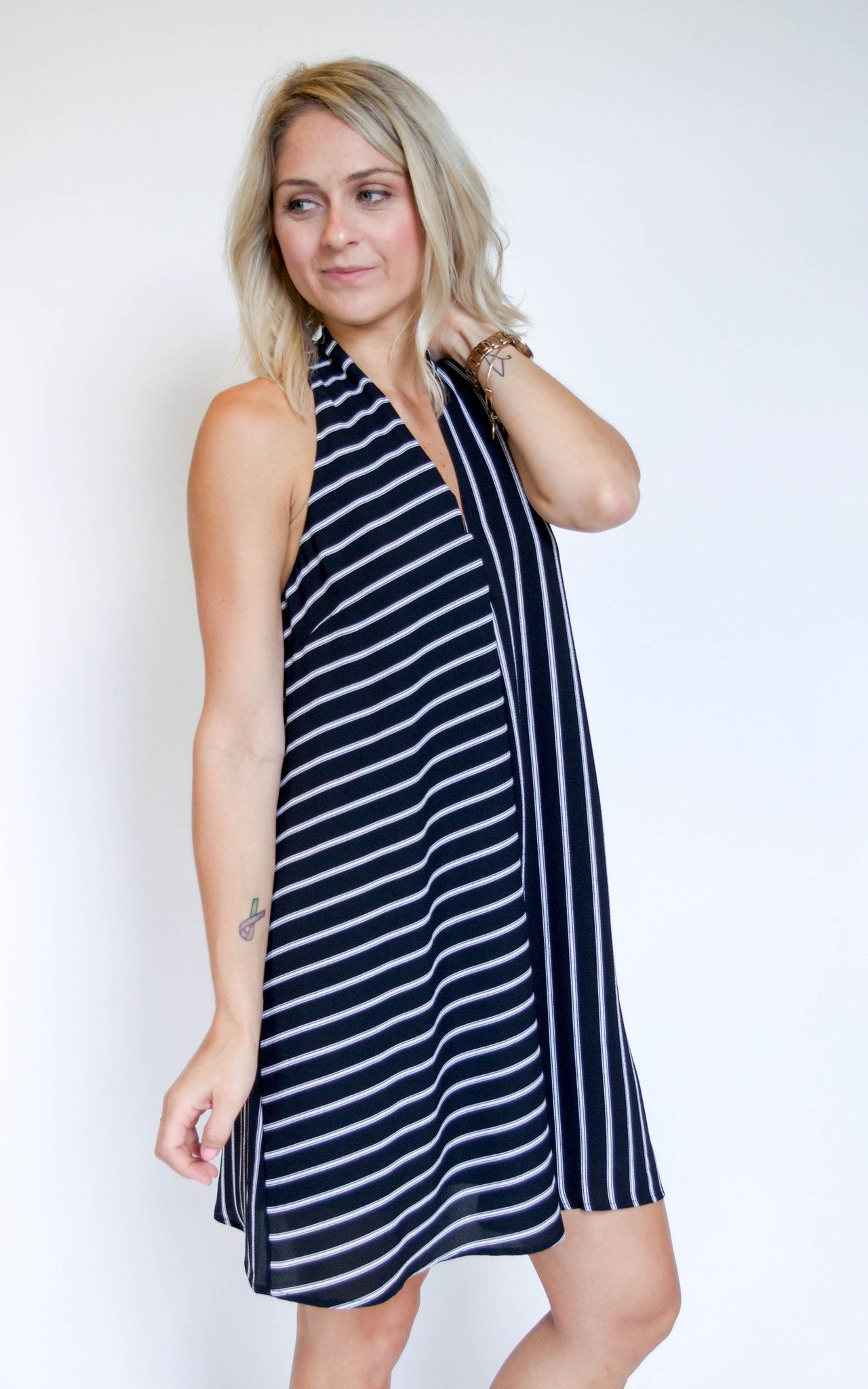 It Takes Two Black Striped Dress - Dawn and Rae Boutique