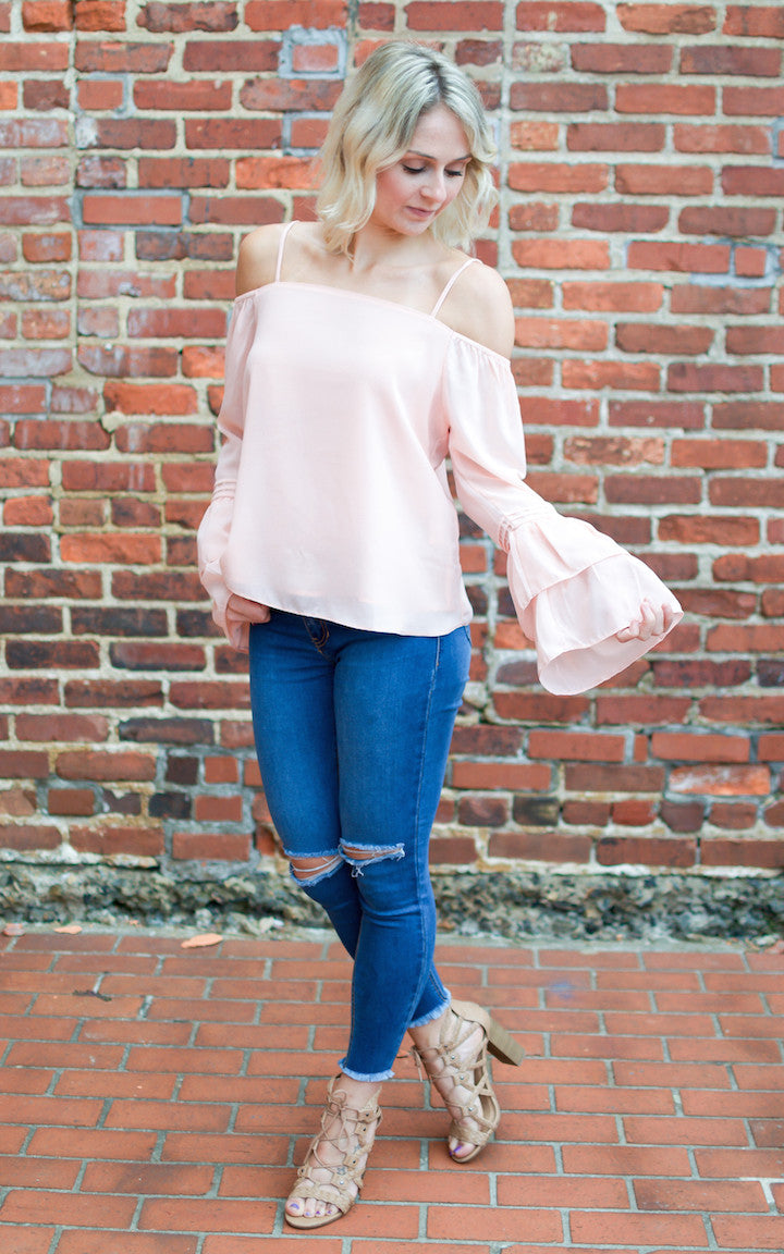 Peach Ruffle Bell Sleeve Cold Shoulder Top - Dawn and Rae Boutique