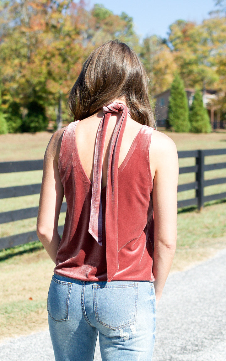 Mellow Rose Velvet Tie Neck Tank - Dawn and Rae Boutique