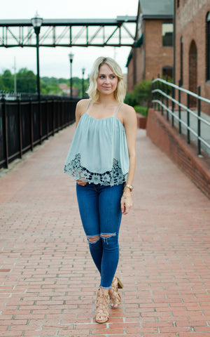 sage embroidered top
