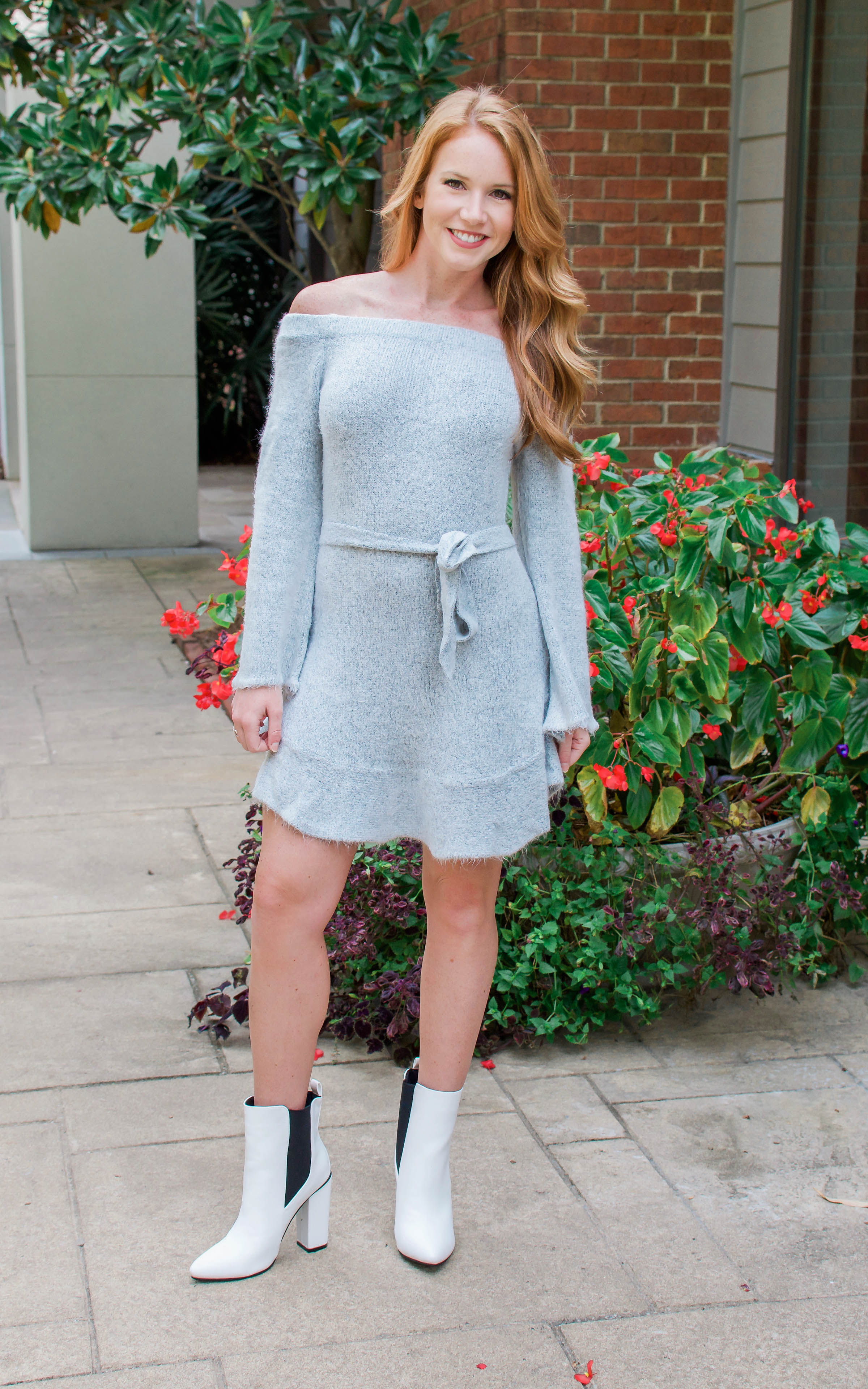 Grey Off The Shoulder Sweater Dress