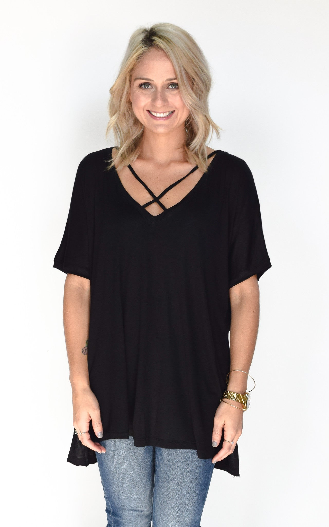 Black Basic Cross Tee - Dawn and Rae Boutique
