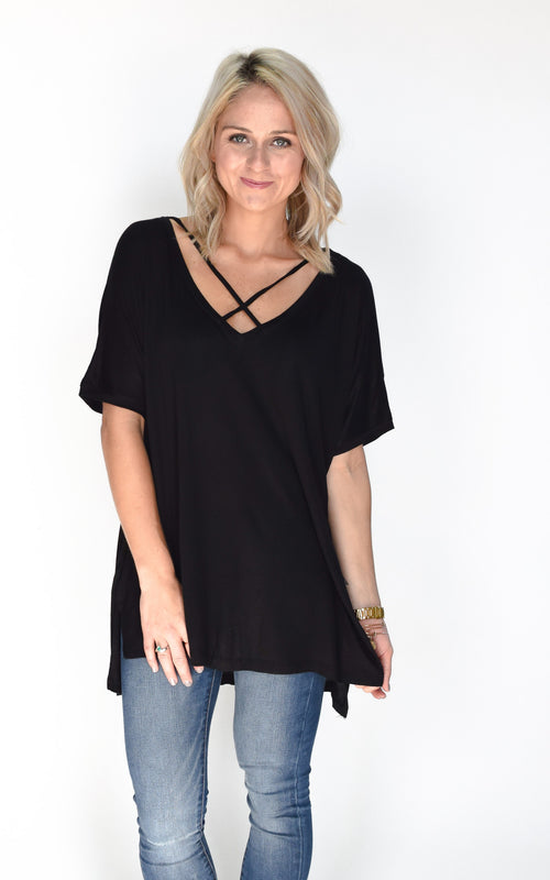Black front Cross tunic t shirt