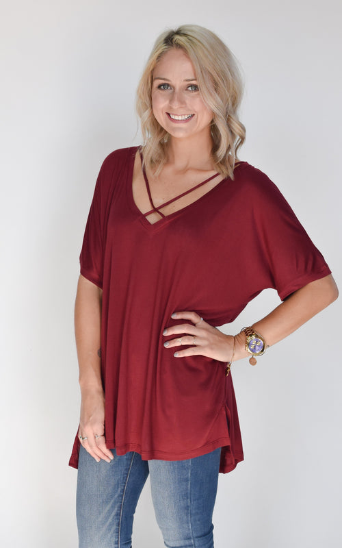 Burgundy Basic Cross Tee - Dawn and Rae Boutique