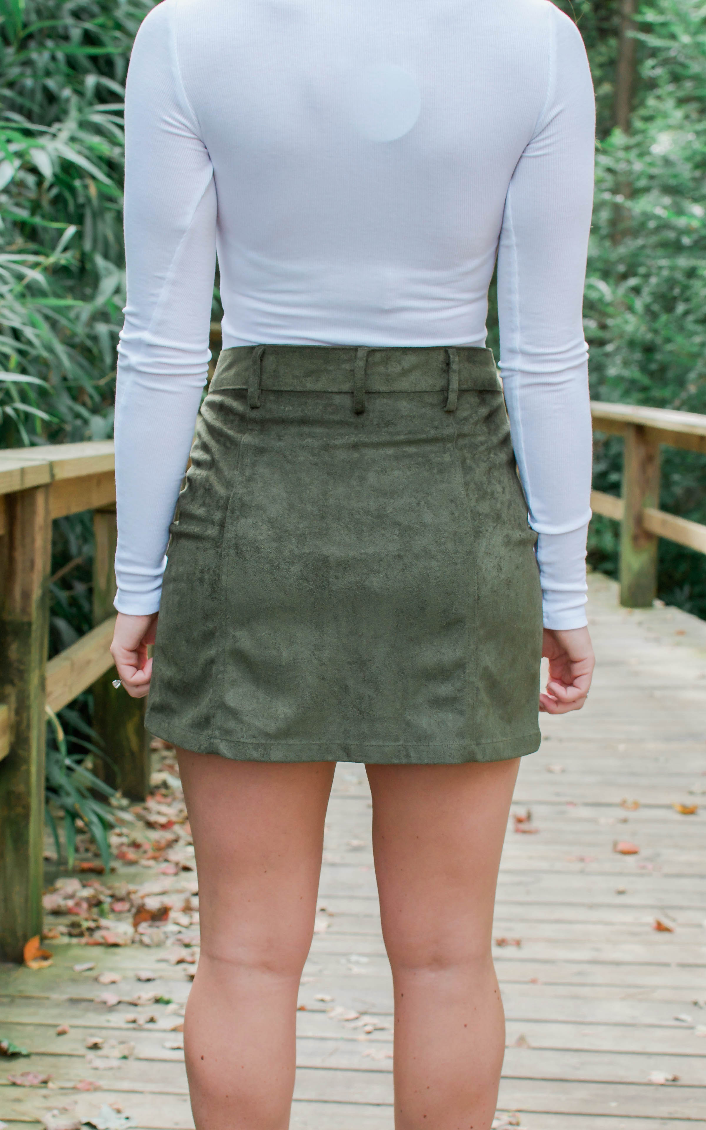 Olive Suede Mini Skirt