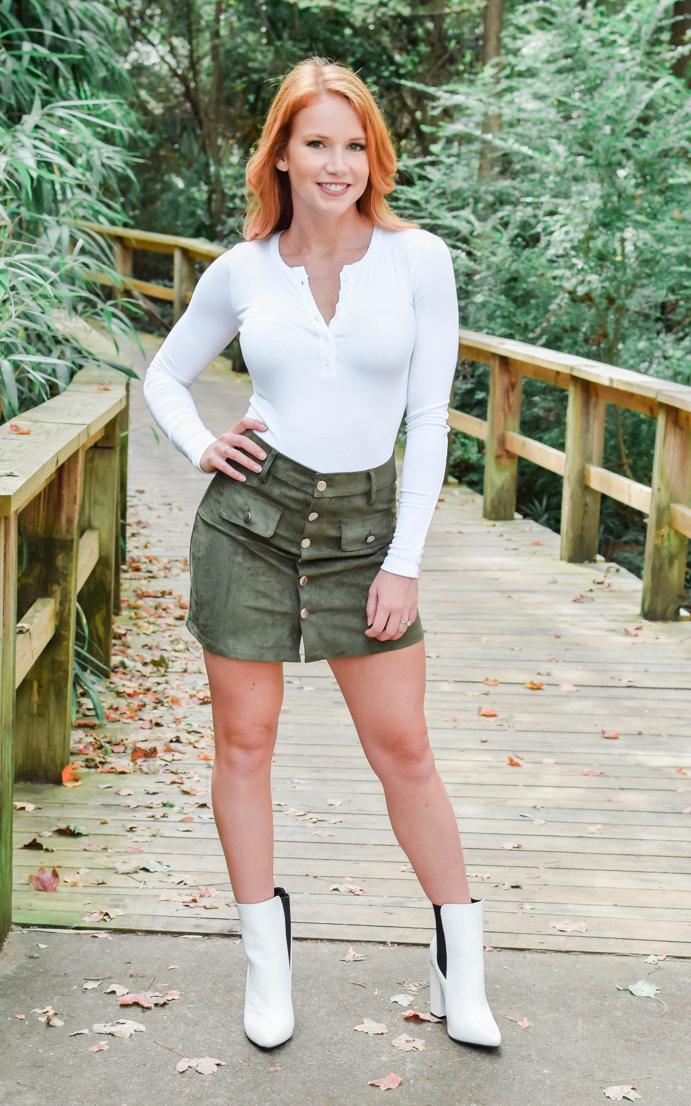 olive button up mini skirt