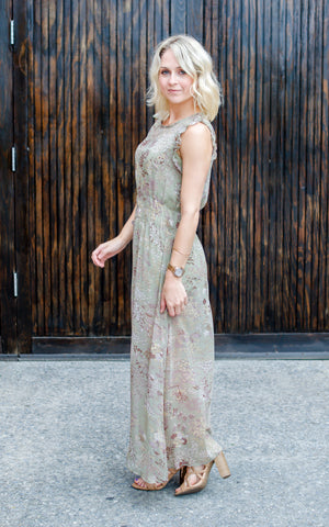 Mauve Cold Shoulder Maxi Dress