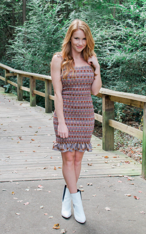 Brown Smocked Mini Dress