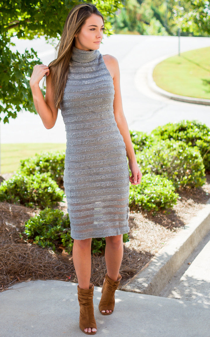 Grey Bodycon Sweater Dress - Dawn and Rae Boutique