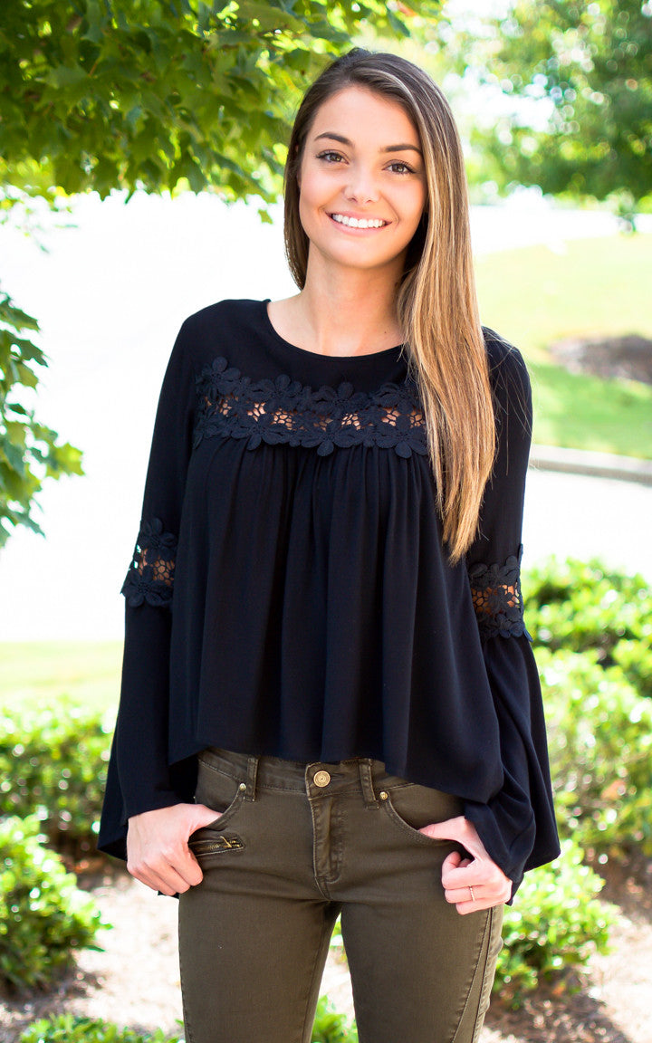 Black Lace Bellsleeve Top - Dawn and Rae Boutique