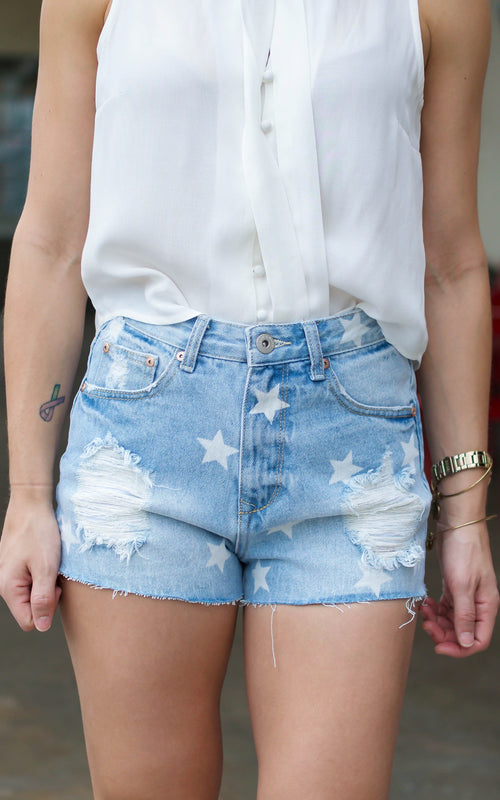 Denim Star Shorts - Dawn and Rae Boutique
