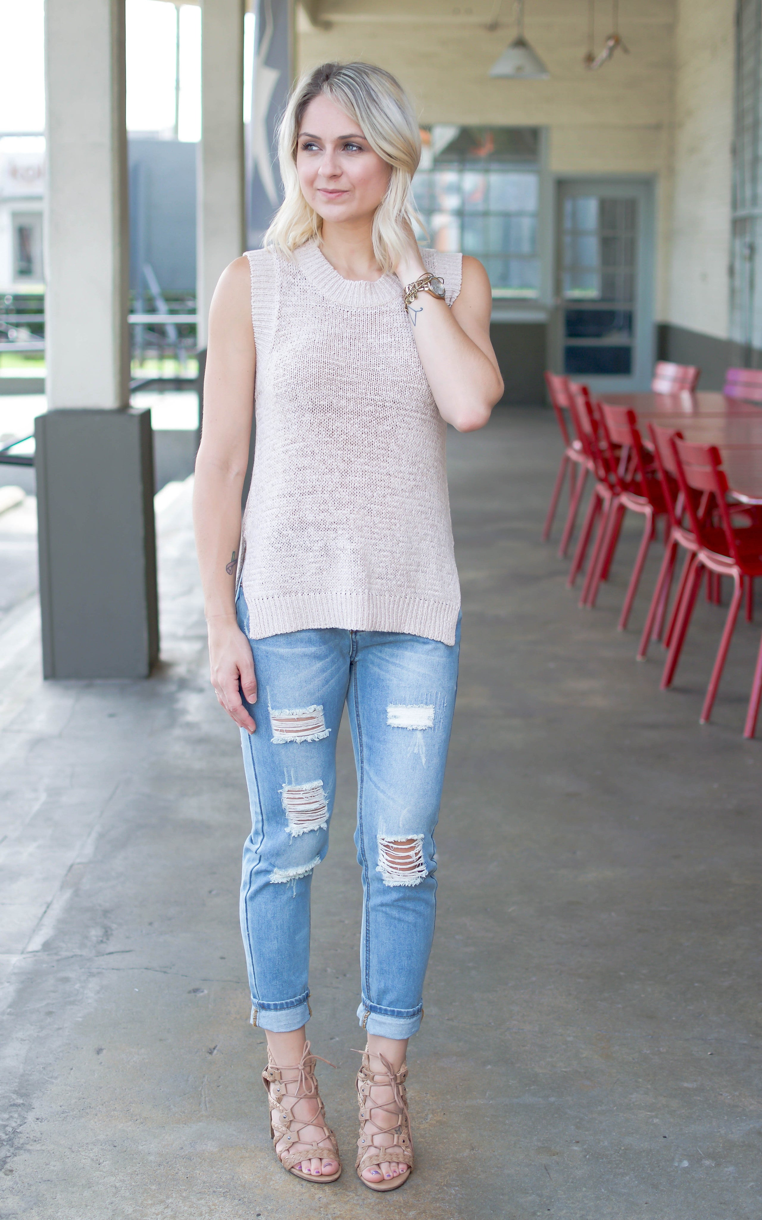 Summer Nude Sweater Tank - Dawn and Rae Boutique