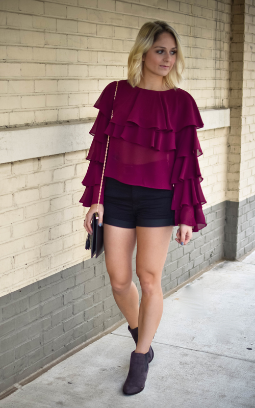 Berry Ruffled Layer Blouse - Dawn and Rae Boutique