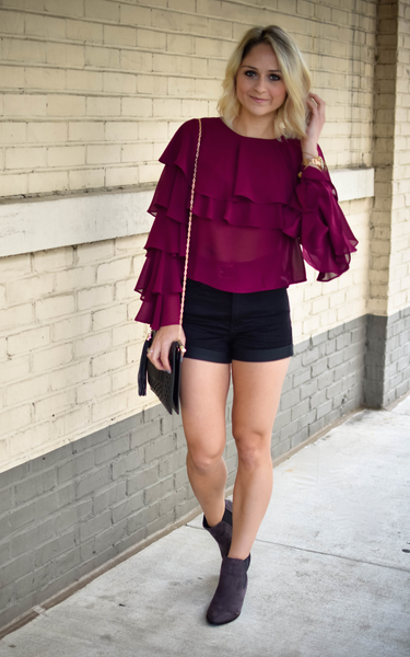 Berry Ruffled Layer Blouse - Endless Knot Boutique