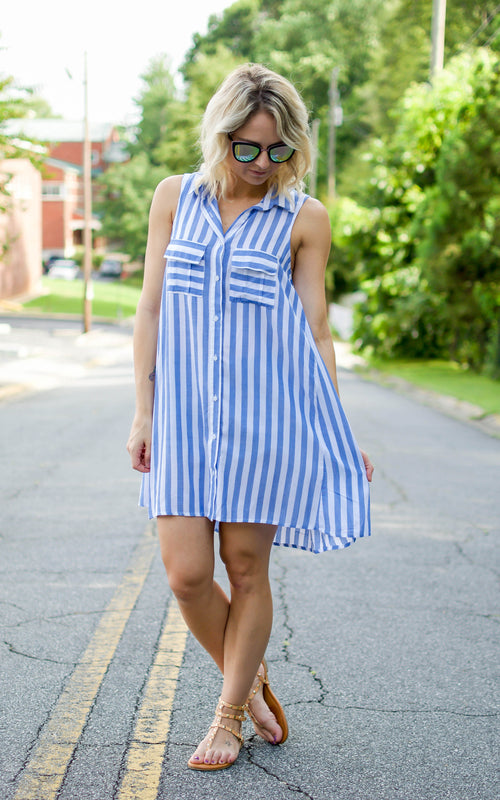 Blue & White Stripe Shirt Dress - Dawn and Rae Boutique
