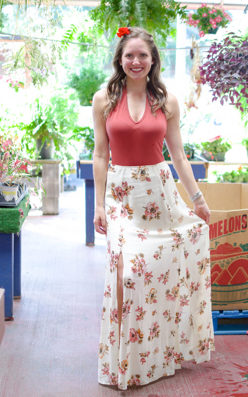 Ivory Floral Wrap Maxi Skirt - Dawn and Rae Boutique